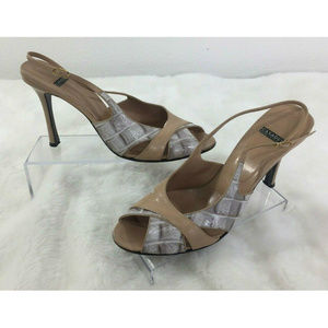 Casadei Stiletto Slingback Heels Sandals Size 10